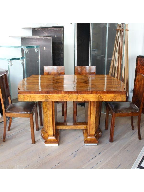 Tavolo con 6 sedie in radica del 1940-50, Italia