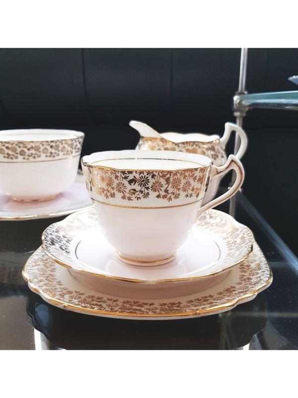Servizio da tè (2 pz + lattiera e zuccheriera) Trentham Royal Crown Pottery del Anni '50